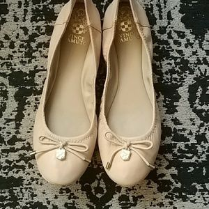 Authentic Cream Leather Vince Camuto Ballet Flats